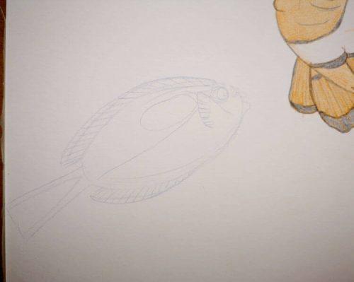 Buntstiftzeichnung Sternzeichen Fische Doktorfisch 1 im Detail