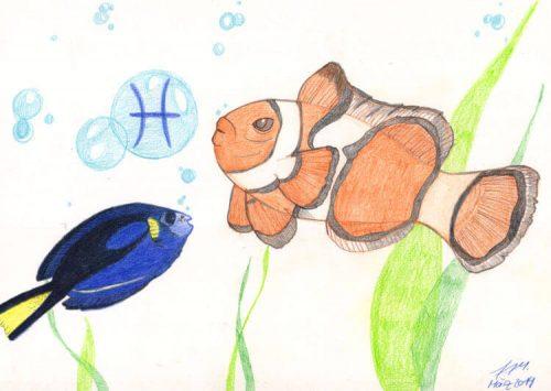 Fertige Buntstiftzeichnung Sternzeichen Fische