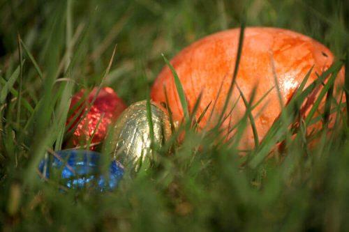 Fotovorlage zum Abzeichnen: Ostereier auf Wiese