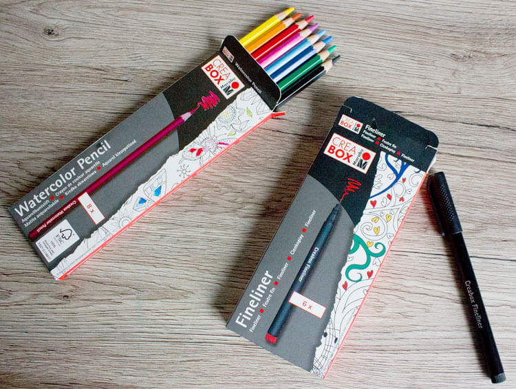 Marabu Crea Box Watercolor Pencils und Fineliner