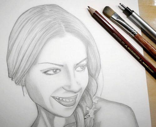 Portrait zeichnen: Bleistiftlinien verblenden mit Pinsel