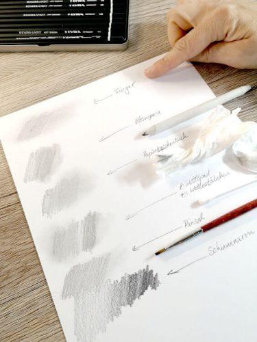 Schattieren und Verblenden/ Verwischen mit Bleistift