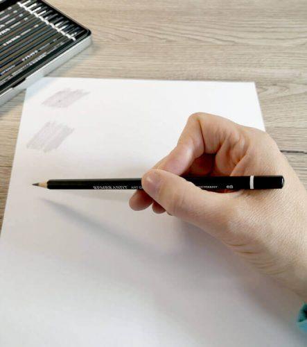 Bleistifthaltung beim Schummern