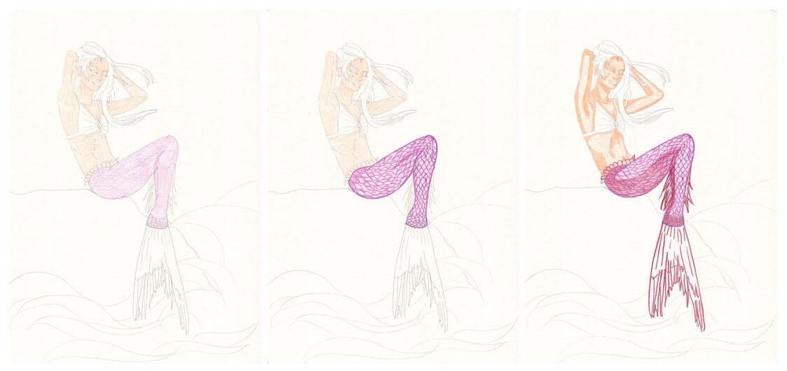 Meerjungfrau mit Aquarellbuntstift kolorieren
