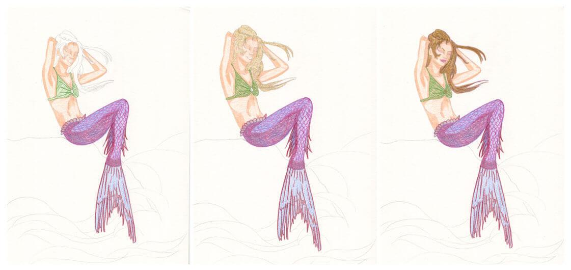 Meerjungfrau mit Aquarellbuntstift kolorieren 2