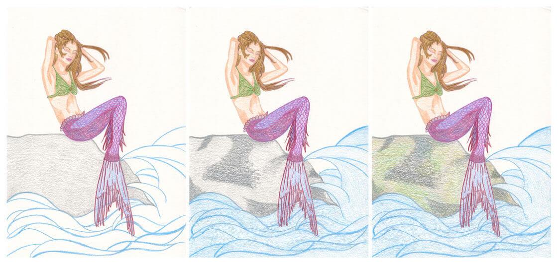 Meerjungfrau mit Aquarellbuntstift kolorieren 3