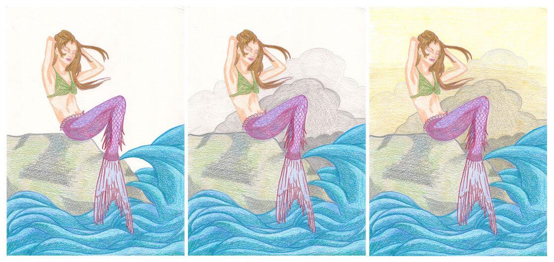 Meerjungfrau mit Aquarellbuntstift kolorieren 4
