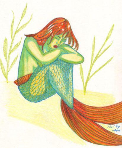 Meerjungfrau zeichnen mit Buntstiften