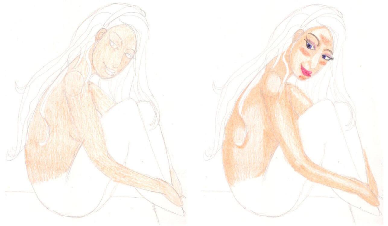 Meerjungfrau malen Schritt für Schritt mit Buntstift kolorieren