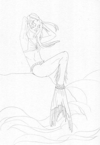 Meerjungfrau sitzt auf Felsen Bleistiftskizze