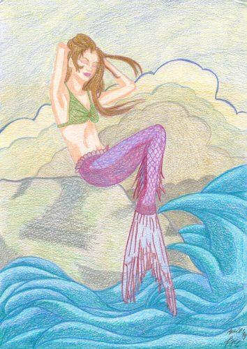 Meerjungfrau trockene Buntstiftkolorierung