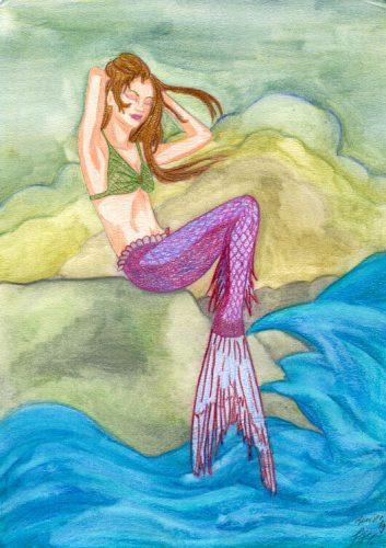 Fertige Meerjungfrau Buntstiftkolorierung mit Wasser vermalt