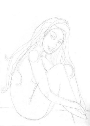 Postkarte: Meerjungfrau zeichnen Bleistiftskizze