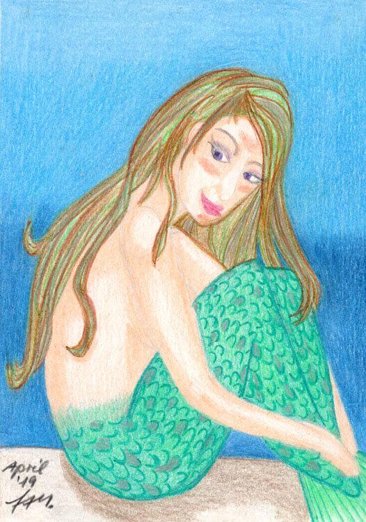 Postkarte: Meerjungfrau Buntstiftkolorierung fertig