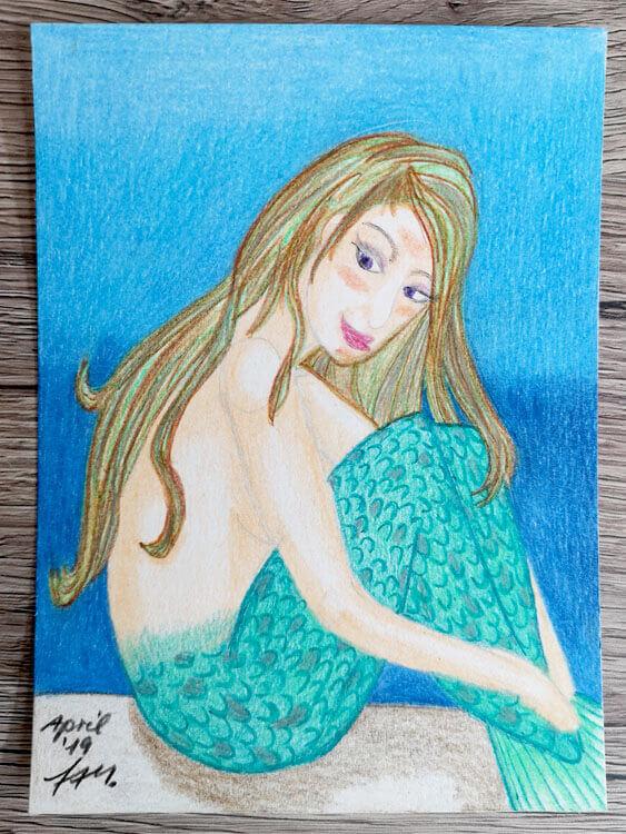 Postkarte: Meerjungfrau Buntstiftkolorierung fertig Foto