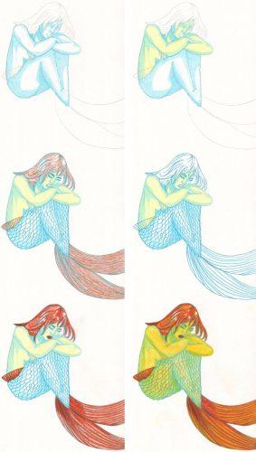 Tutorial: Meerjungfrau hockt kolorieren mit Buntstift