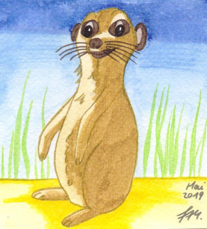 Postkarte: Erdmännchen Aquarell mit Watercolormarkern gemalt (Scan)