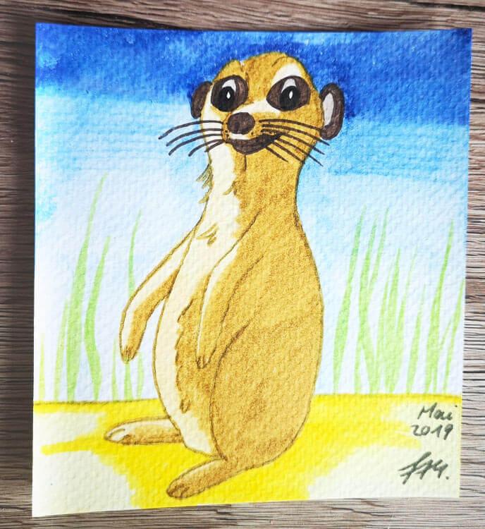 Postkarte: Erdmännchen Aquarell mit Watercolormarkern gemalt (Foto)