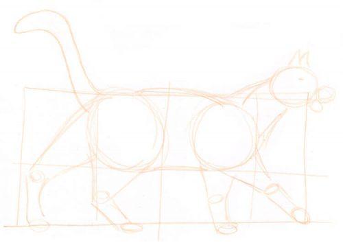 Katze zeichnen: Bleistiftskizze