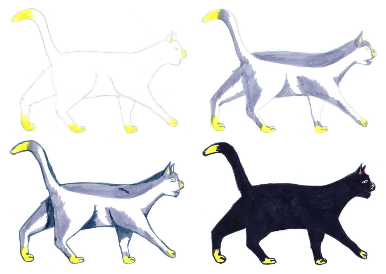 Schwarze Katze mit Filzstift malen in einzelnen Schritten