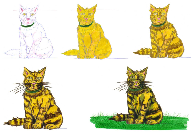 Getigerte Katze mit Filzstift malen Schritt für Schritt