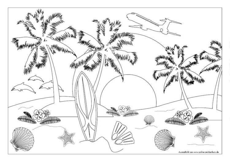 Sommer Ausmalbild: Für Ferien, Urlaub und Meer