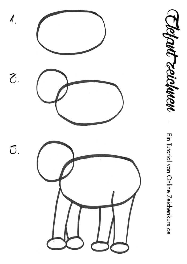 Elefant zeichnen - Anleitung für Kinder