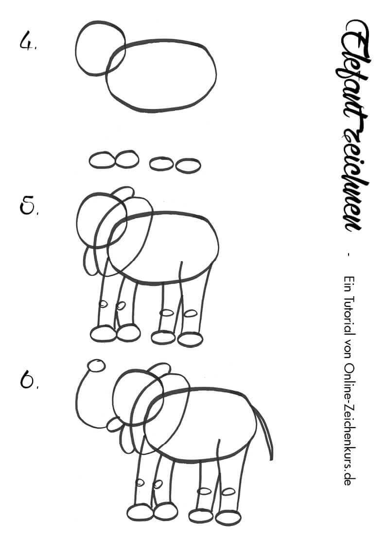 Elefant zeichnen - Anleitung für Kinder 2