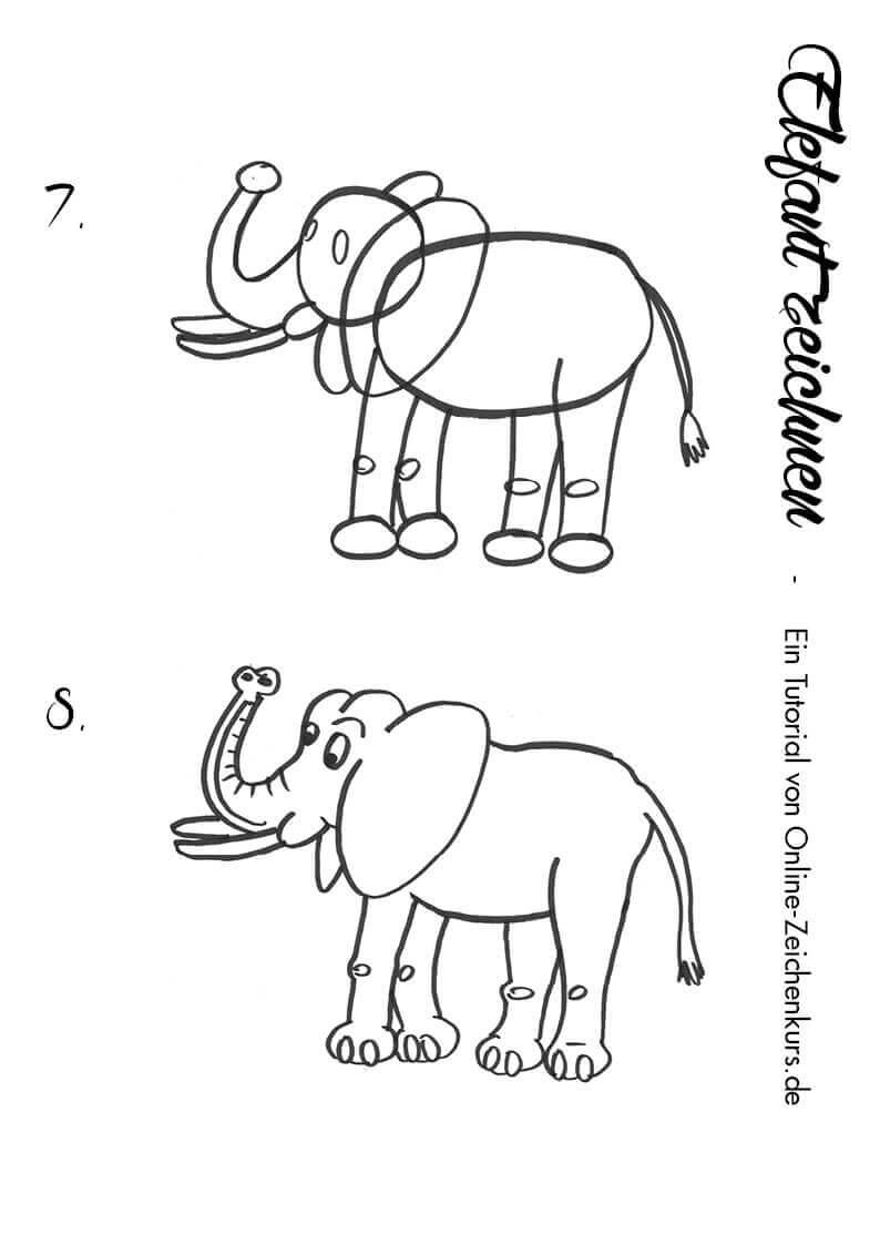 Elefant zeichnen - Anleitung für Kinder 3