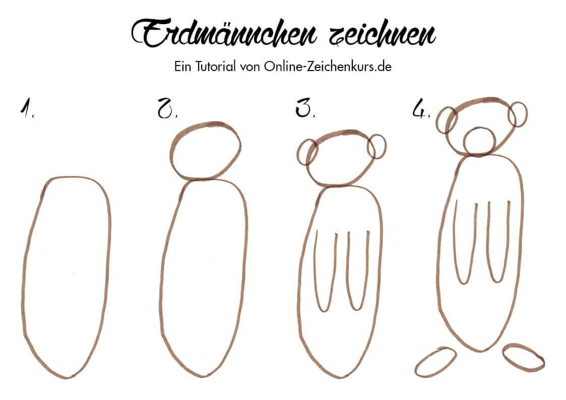 Erdmännchen zeichnen - Anleitung für Kinder