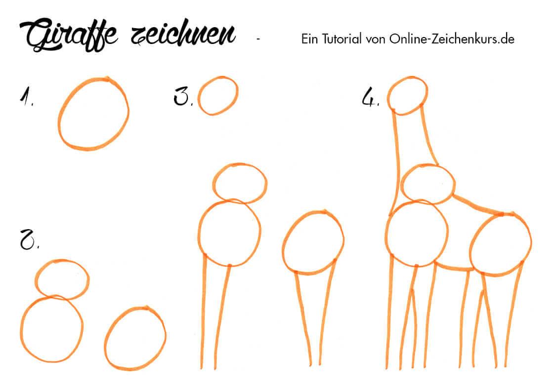 Giraffe zeichnen - Anleitung für Kinder