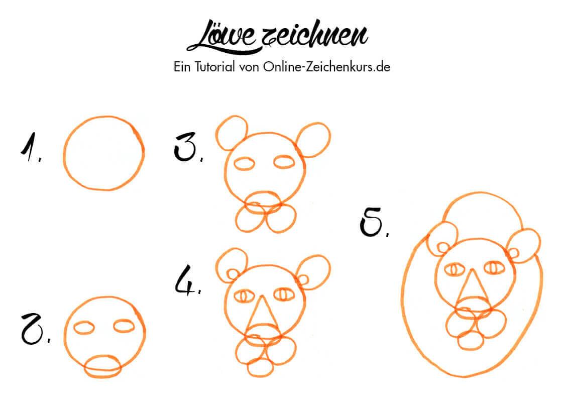 Löwe zeichnen - Anleitung für Kinder