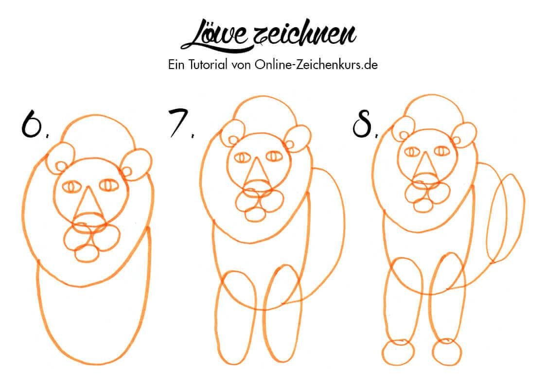 Löwe zeichnen - Anleitung für Kinder 2