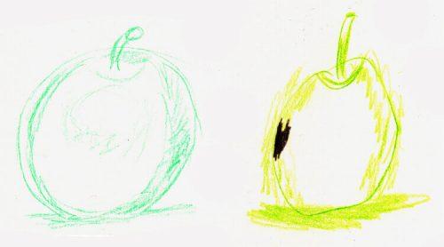 Alex' Apfelzeichnungen Schritt 3 - mein Vorschlag und seine Zeichnung