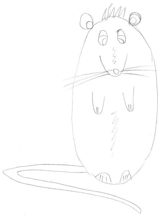 Maus zeichnen für Kinder: Beispiel - Maus macht Männchen (von vorn)