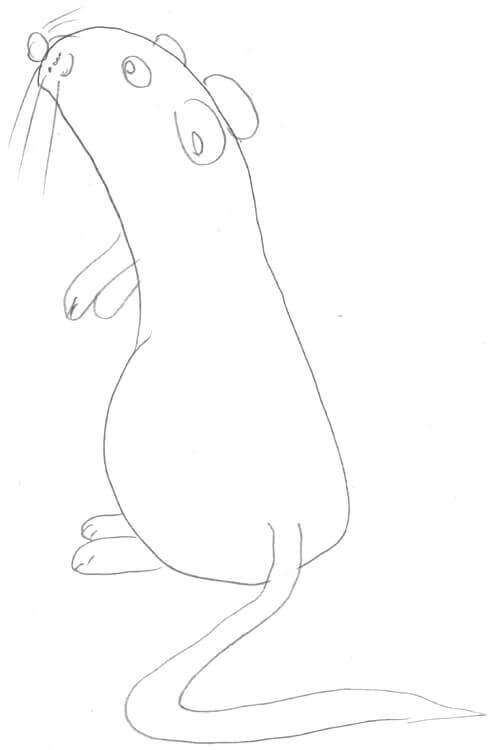 Maus zeichnen für Kinder: Beispiel - Maus macht Männchen