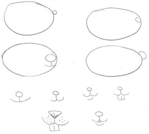 Maus zeichnen für Kinder: Nase und Nagezähne