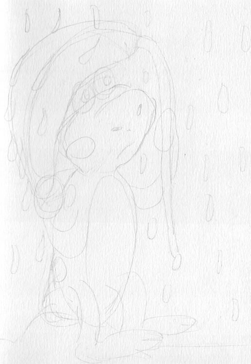 Bleistiftskizze: Regenfrosch