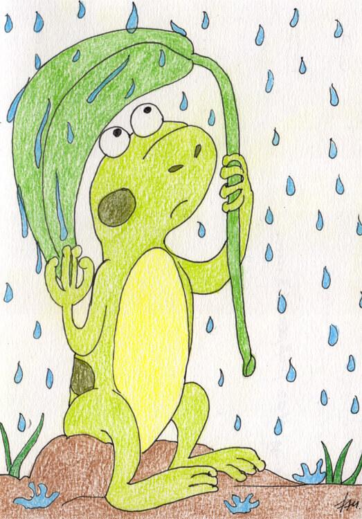 Buntstiftkolorierung 1: Regenfrosch