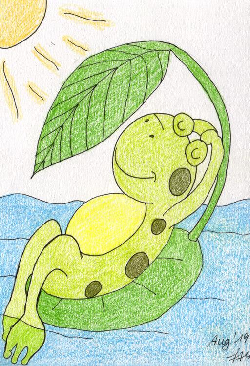 Buntstiftkolorierung 1: Sonnenfrosch