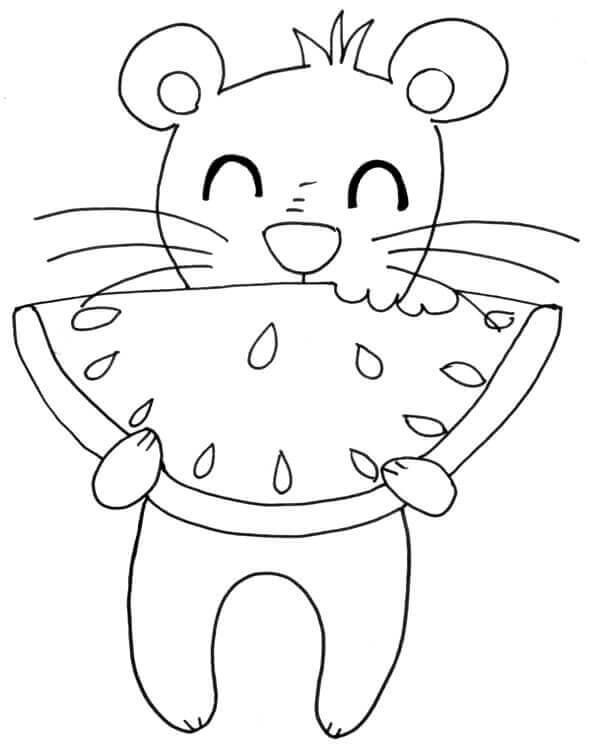 Tuschekonturen: Maus beißt in Wassermelone