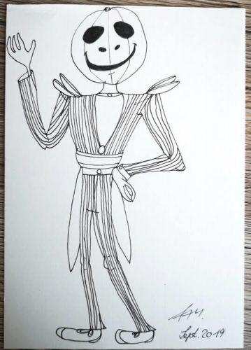 Halloween Figur zeichnen: Finelinerkonturen