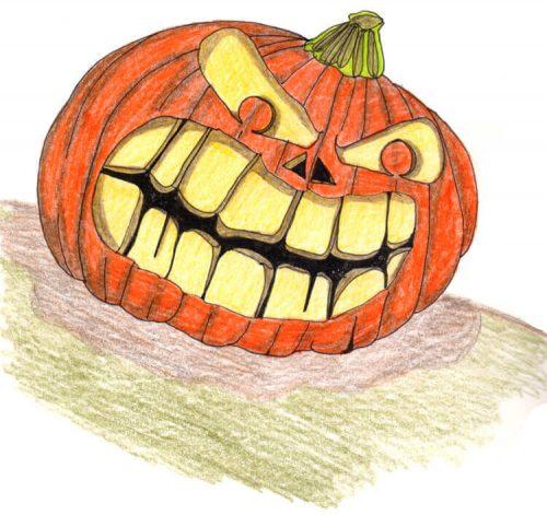 Halloweenkürbis zeichnen: Fertige Kürbiszeichnung