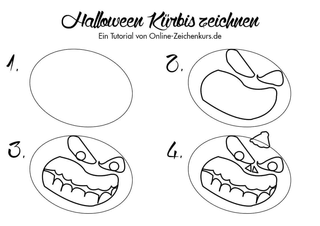 Tutorial Halloween Kürbis zeichnen