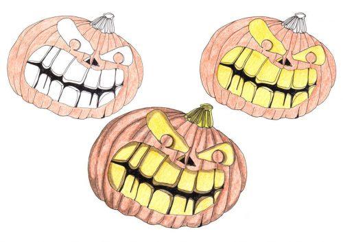 Tutorial Halloweenkürbis kolorieren: Buntstiftkolorierung