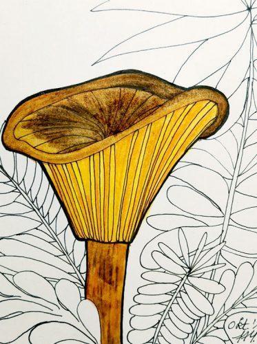 Aquarell Pilz malen: Kolorierung Schritt 2