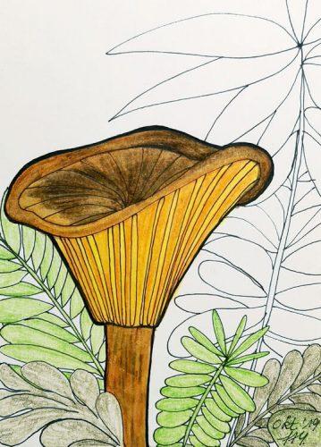 Aquarell Pilz malen: Kolorierung Schritt 3