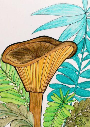 Aquarell Pilz malen: Kolorierung Schritt 5