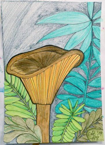 Aquarell Pilz malen: Kolorierung Schritt 6