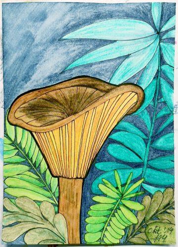 Aquarell Pilz malen: Kolorierung Schritt 7